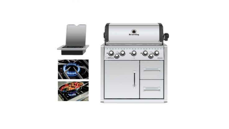 Broil King Imperial 590 Natural Gas Built In BBQ with Cabinet - Free Cover