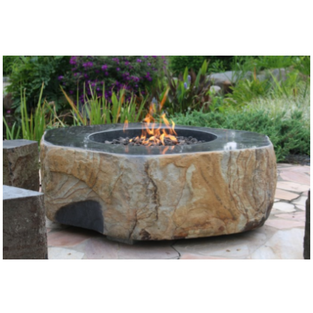 Elementi Basalt Boulder Outdoor Firepit - Natural Gas