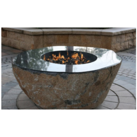 Elementi Large Granite Outdoor Firepit Boulder - Natural Gas
