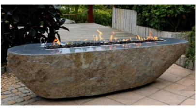 Elementi Long Granite Boulder Outdoor Firepit
