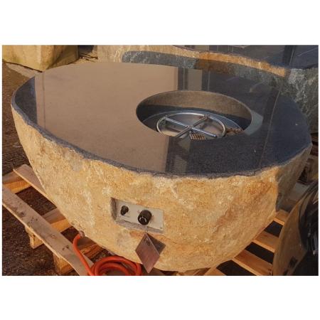 Elementi Pear Granite Boulder Outdoor Firepit
