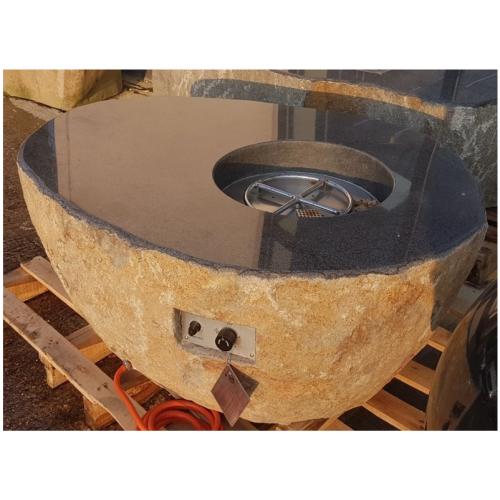 Elementi Pear Granite Boulder Outdoor Firepit Natural Gas