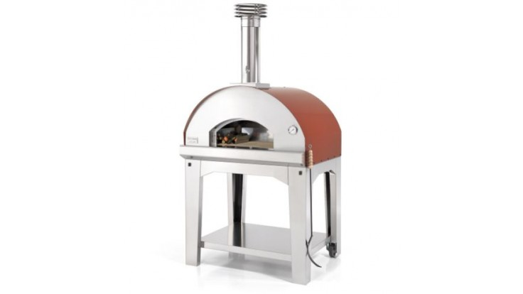 Fontana - Mangiafuoco Wood Pizza Oven with Trolley - Rosso