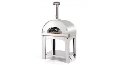 Fontana - Mangiafuoco Wood Pizza Oven with Trolley - Stainless Steel