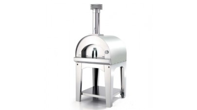 Fontana - Margherita Wood Pizza Oven with Trolley - Stainless Steel