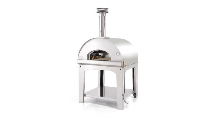 Fontana - Marinara Wood Pizza Oven with Trolley - Stainless Steel
