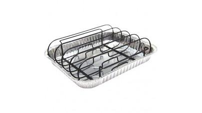 Grill Pro Rib Rack w/ 3 Aluminium Roasting Trays (Non-Stick )