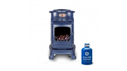 Provence Portable Real Flame Gas Heater - Navy Blue + 15kg Gas Bottle