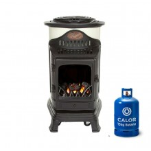 Provence Portable Real Flame Gas Heater in Cream and Black + 15kg Gas Bottle