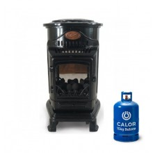 Provence Portable Real Flame Gas Heater - Gloss Black + 15kg Gas Bottle