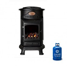 Provence Portable Real Flame Gas Heater Matt Black + 15kg Gas Bottle