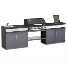 Beefeater Discovery Plus 1100 5 Burner Outdoor Kitchen with Sink Unit and Side Burner Unit