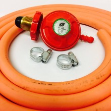 Propane Regulator with Hand Wheel + 2m Gas Hose + 2 Jubilee Clips