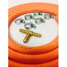 T Piece for 8mm Gas Hose + 8mm Gas Hose 2 Metre + 6 Jubilee Clips