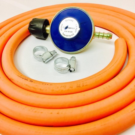 Campingaz Regulator + 2m 8mm Gas Hose + 2 Clips
