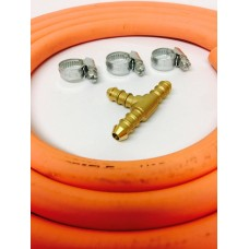 3 WAY T CONNECTOR + 2m 8mm GAS HOSE & 3 CLIPS