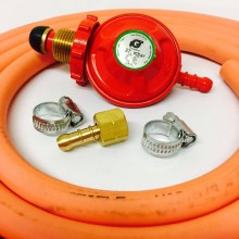 Propane Regulator with Hand Wheel + BBQ Nut and Nozzle + 2m Gas Hose + 2 Jubilee Clips
