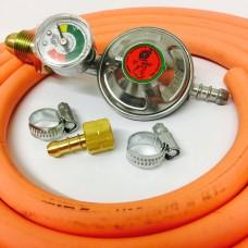 "Propane Regulator With Gauge Screw In + 8mm Gas Hose 1.5 Metre + 2 Jubilee Clips + 1/4"" Left Hand BBQ Fitting"