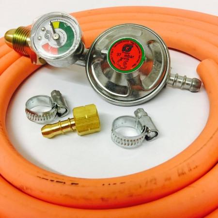 Propane Regulator with Gauge + 1.5m Gas Hose + 2 Clips