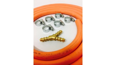 Y Piece for 8mm Gas Hose + 8mm Gas Hose 2 Metre + 6 Jubilee Clips