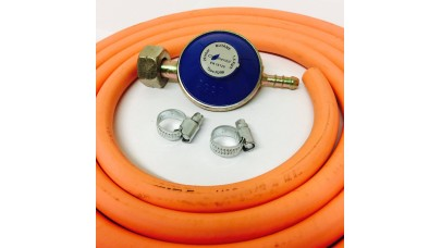 Butane Regulator Screw In + 8mm Gas Hose 2 Metre + 2 Jubilee Clips
