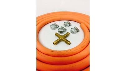 4 Way Hose Splitter + 2m Gas Hose + 4 Jubilee Clips