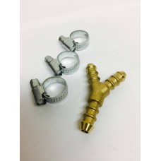 Y Piece for 8mm Gas Hose + 3 Jubilee Clips