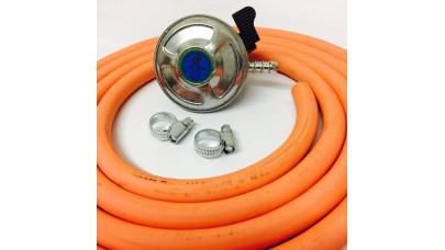 Butane Regulator 21mm Clip On + 8mm Gas Hose 2 Metre + 2 Jubilee Clips