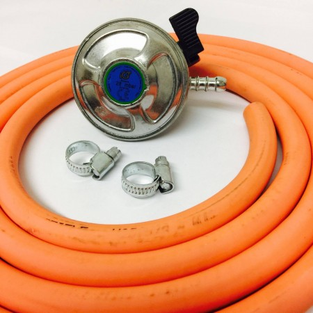 21mm Butane Regulator + 2m Gas Hose + 2 Jubilee Clips