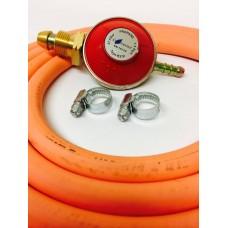 Propane Regulator + 2m Gas Hose + 2 Jubilee Clips + BBQ Connection